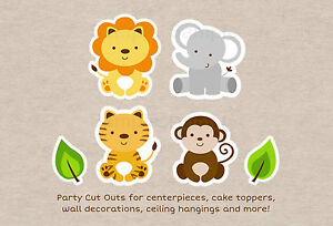 image about Printable Safari Animals titled Info around Lovely Jungle Safari Pets Get together Cutouts Decorations Printable