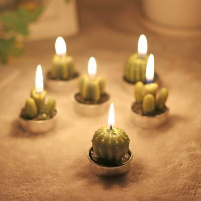 6X Cactus Plant Pot Candles Set Mini Tea Lights Candle Home Table Decor