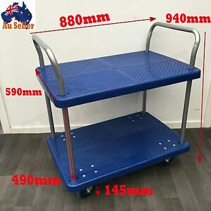 300kg-Heavy-Duty-Trolley-Cart-Industrial-Push-Hand-Strong-Plastic-Platform-2Tier