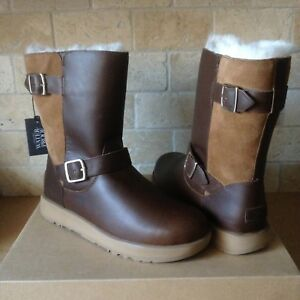 ec1db46f8a0 Details about UGG BREIDA CHESTNUT WATERPROOF LEATHER FUR BUCKLE SHORT BOOTS  SIZE US 11 WOMENS