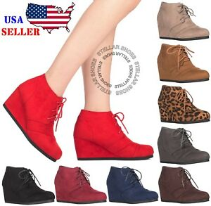 New-Women-039-s-Round-Toe-Lace-Up-Wedge-Heels-Suede-Ankle-Boots-Booties-WITH-BOX