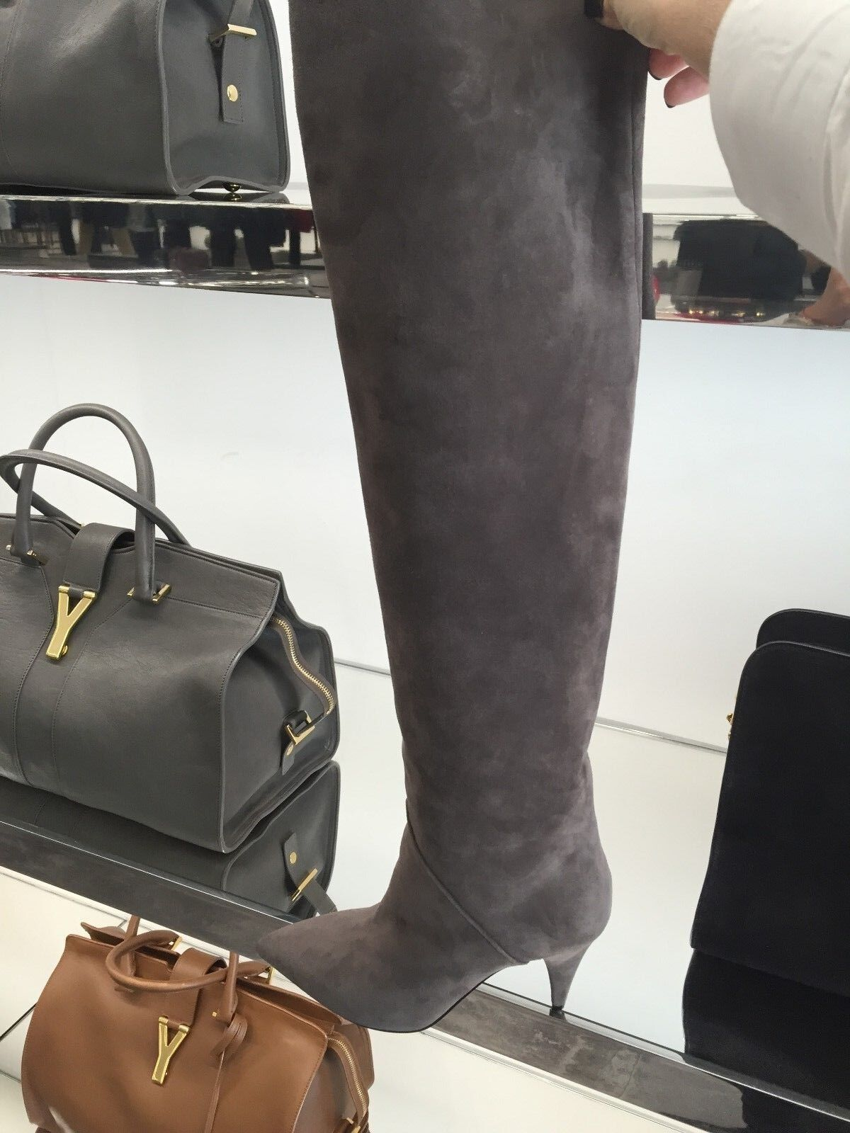 $1,495 SAINT LAURENT CAT BOOT 90 10 OVER-THE-KNEE SUEDE BOOTS SIZE 10 90   40  393845 f5b79d