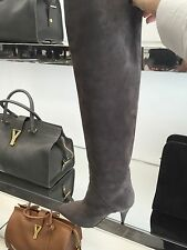 $1,495 SAINT LAURENT CAT BOOT 90 OVER-THE-KNEE SUEDE BOOTS SIZE 10   40  393845