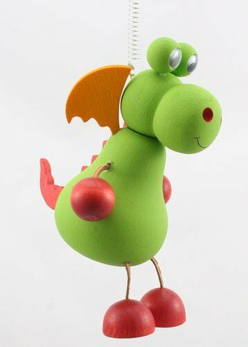 Drache hellgrün Federtier Schwingfigur Hüpftier Mobile Federfiguren Jumper