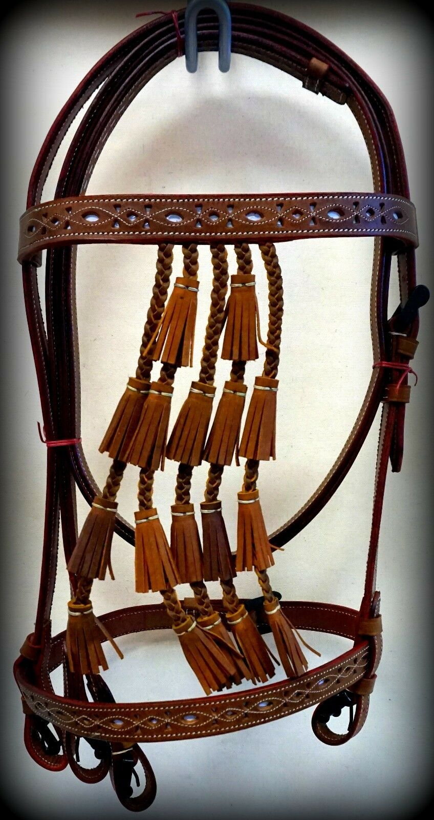 Spanish Vaqueros Bridle Headstall TAN W  White Inlay Leather Horse Bell Tassels