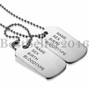 Mens-FREE-ENGRAVING-Stainless-Steel-Army-ID-2-Dog-Tags-Military-Pendant-Necklace