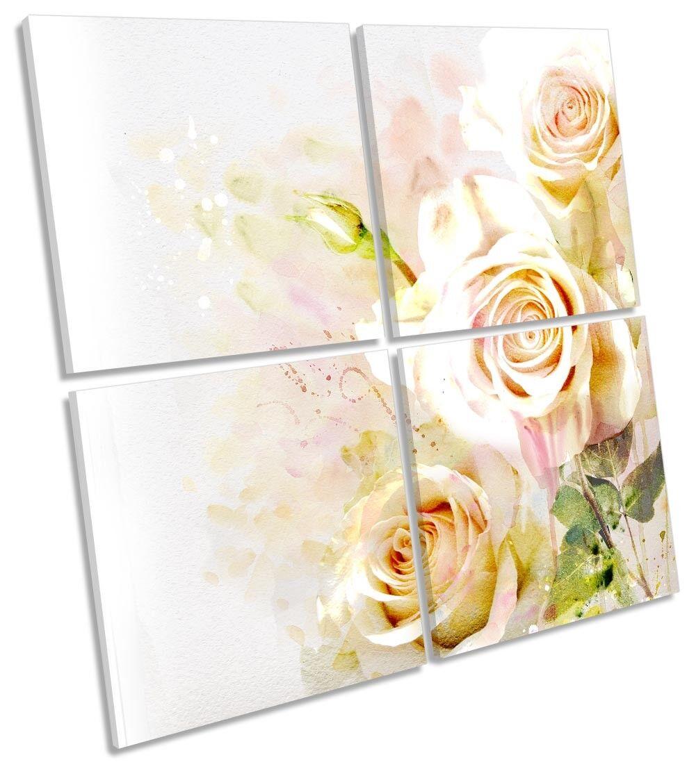 rosa Fiori Floreale Crema Multi a muro opera d'arte art art art SQUARE 3d83fc