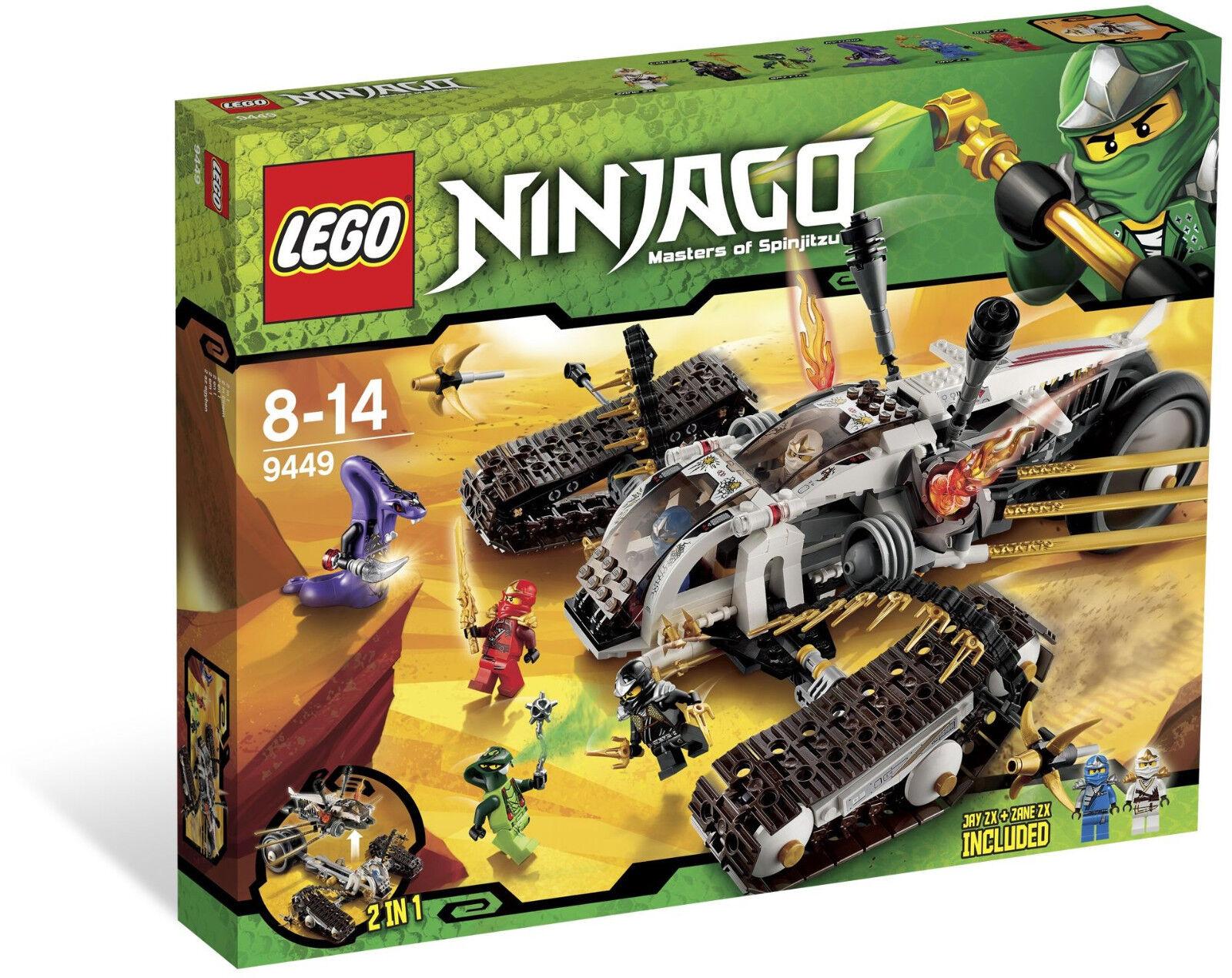 Lego 9449 Ninjago Ultra Sonic Raider  Sealed Box  Pythor Spitta 6 Minifigs .