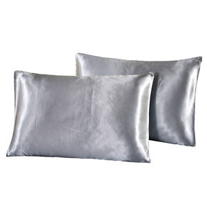 2pcs Luxury Silky Satin Pillow Case Solid Color Standard