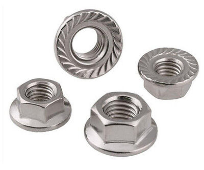 M5 Flange Nut,Left Hand,Stainless Steel,Pack 8 pcs