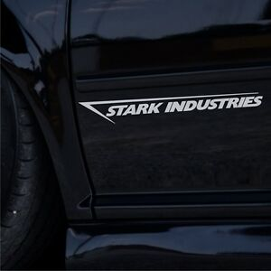2x-Stark-Industries-35cm-Tuning-Auto-Aufkleber-Seitenaufkleber-JDM-Sticker-DUB