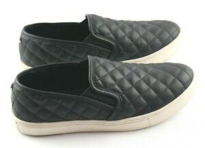 Steve-Madden-Ecentrco-Sneakers-Womens-Sz-8-Quilted-Black-Leather-Slip-On-Shoes