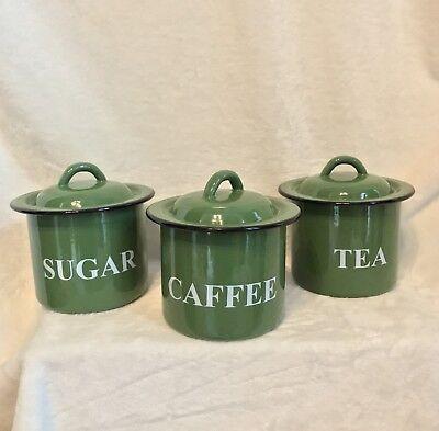 Vintage Enamelware - SET OF 3 DARK GREEN KITCHEN CANISTERS ...