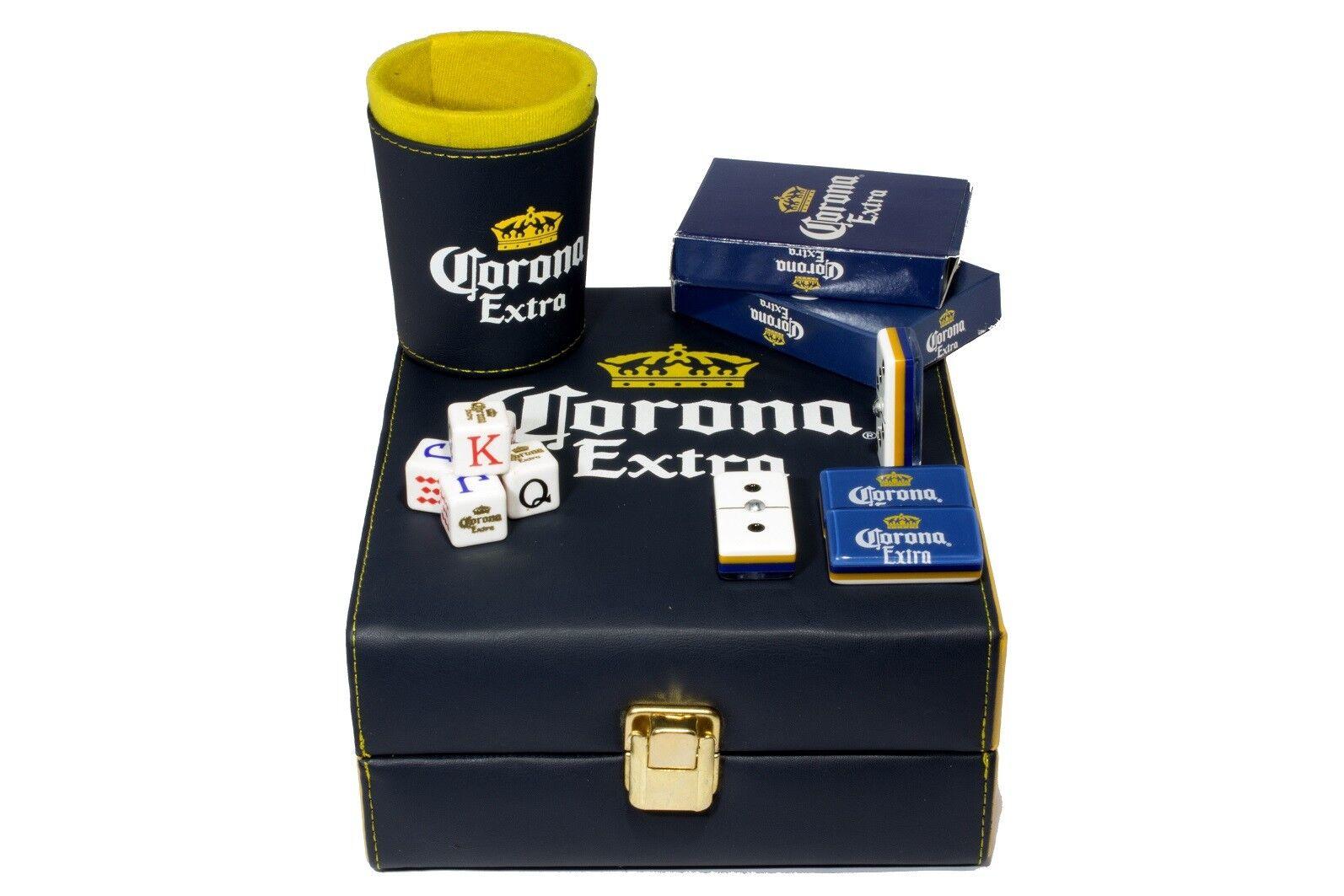 Corona Beer Deluxe Set 3 Games: Domino, Dice Cup, 2 Poker Cards