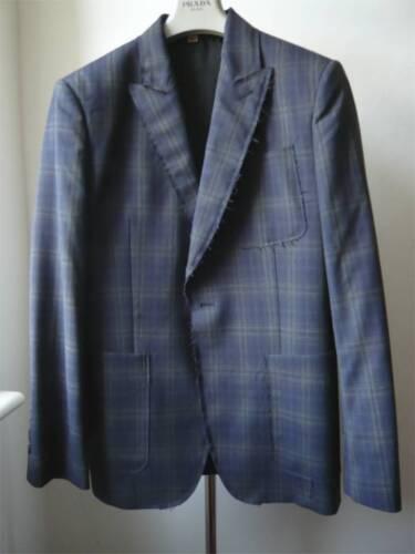 licht blauw John wollen Cut Nieuw jack met Sz Galliano grijze 50 ruitjes Great Z4qTFF