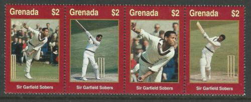 WISDEN CRICKETER of CENTURY SIR GARY SOBERS GRENADA 2000 STRIP(4v) Mint NH