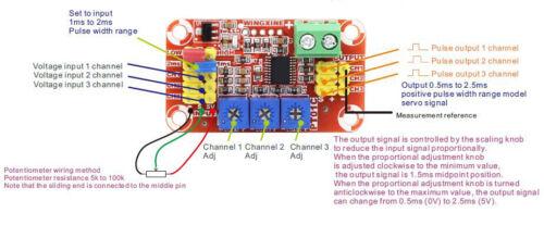 DC5-15V 3-Channel Analog Voltage Signal to RC PWM Pulse Signal Servo ESC Control