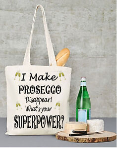Personalised Prosecco Shopping List  Re-useable Tote Shopping Bag Gift for Her