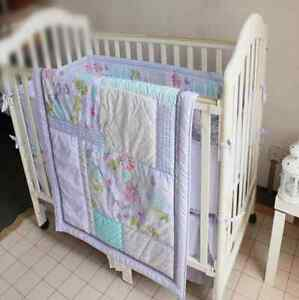 7 Piece Baby Bedding Set Dream Butterfly Nursery Quilt Bumper Sheet Crib Skirt