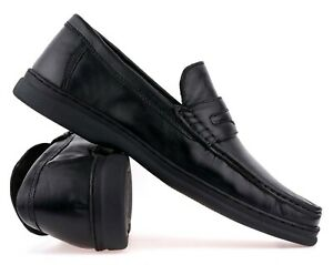 mens black real leather penny loafers smart casual formal