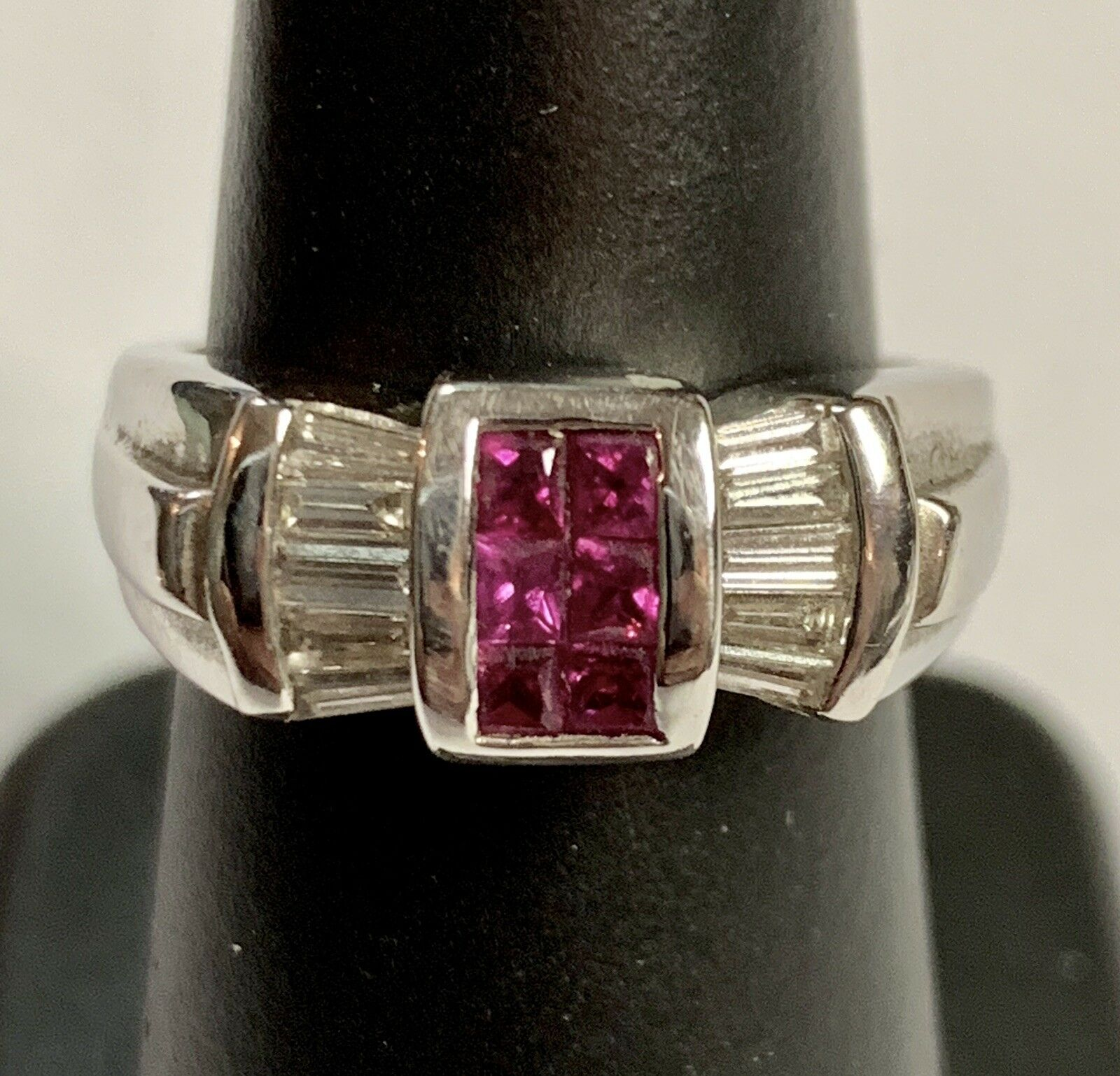 14 k White gold Diamond And Ruby Ring