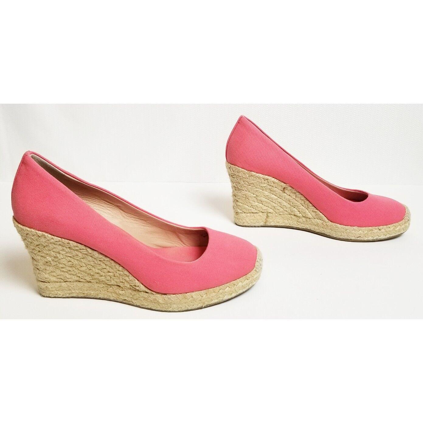 J. Crew Größe 6 1/2 Damens's Seville Espadrille pink wedge heels style 64498