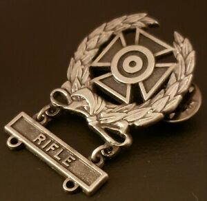 US-ARMY-Expert-Shooting-Oxidized-Badge-Wreath-Rifle-MARKSMAN-Qualification-Q-bar