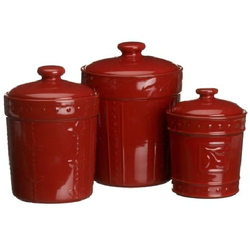 Kitchen 3 Pc Red Cannister Set Counter Storage Coffee Sugar Tea Lids Containers
