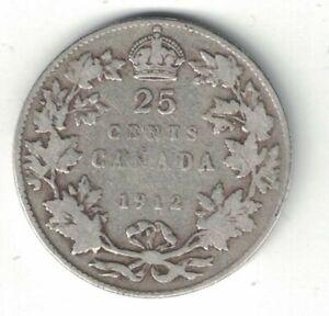 CANADA-1912-TWENTY-FIVE-CENTS-QUARTER-KING-GEORGE-V-STERLING-SILVER-COIN