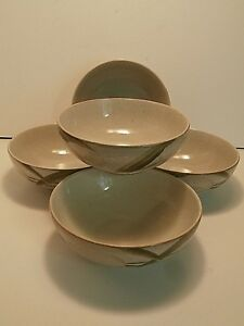 222-Fifth-Tranquility-Soup-Cereal-Bowls-Pale-Pink-Flowers-Stoneware-Lot-of-5