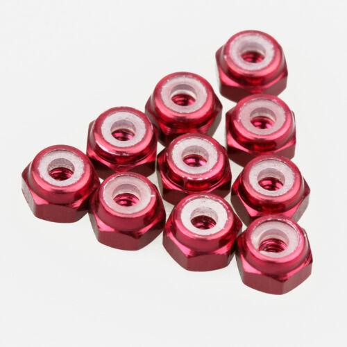 10PCS ALIENTAC Aluminum M2 Red Nylon Hex Insert Self-Lock Nuts
