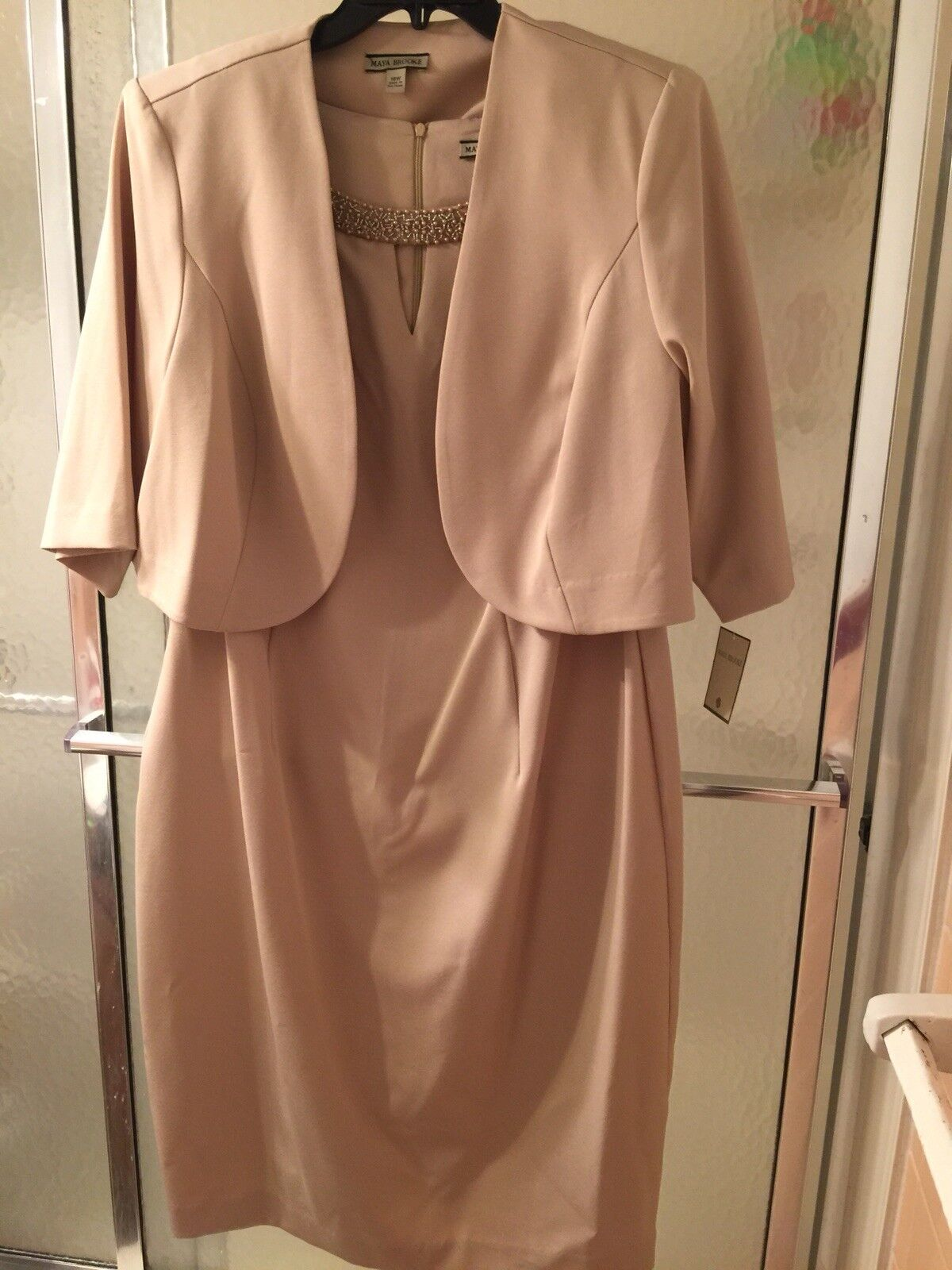 NWT Maya Brooke 2 Piece Gown Suit;Beige; Size 18W; ShortSleeves KneeLength