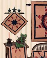 Lone Star Red Blue Tea Dyed 17x17 Quilt Block Wallhanging Or Use As Table Mat
