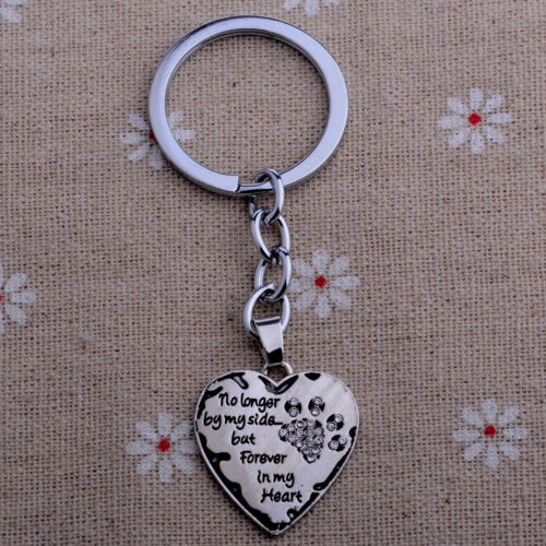Heart Keychain Paws Heart Key Chain Pet Prints Key Ring Dog Rescued Keyring
