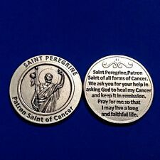 St PEREGRINE Patron Saint of Cancer Pocket Token Protection Healing Medal Prayer