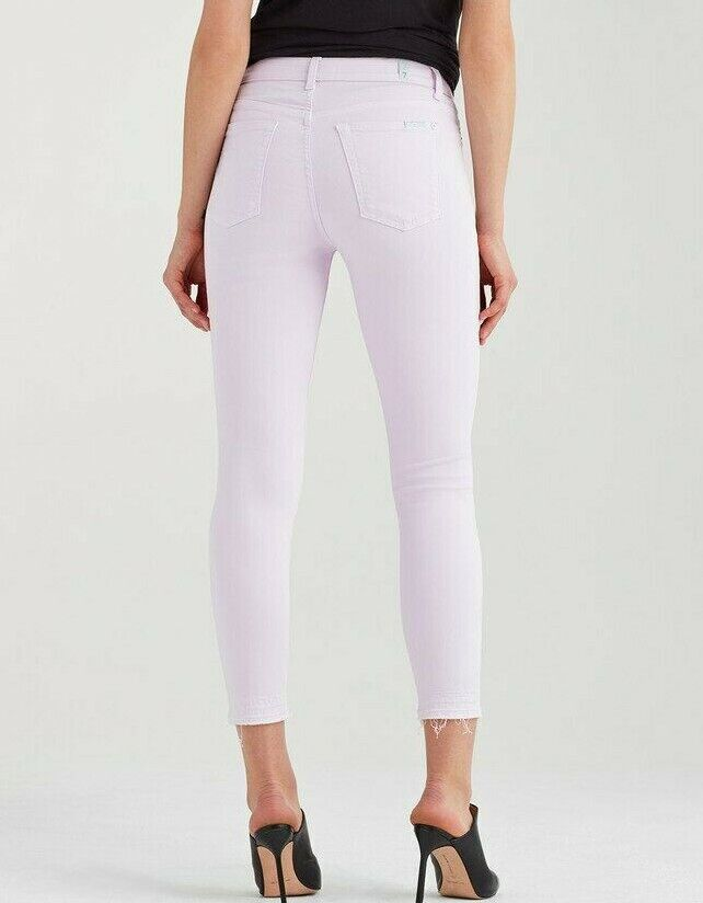 179 NWT 7 FOR ALL MANKIND Sz28 THE ANKLE SKINNY RAW HEM STRETCH JEANS LAVENDER