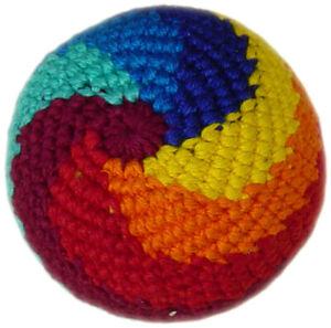 4St. Jonglierball Häkelball Footbag Kickball,Cotton m. Granulat Regenbogenmuster