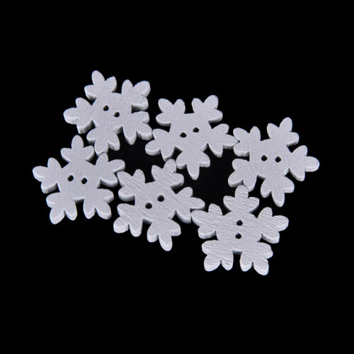 100Pcs White Snowflake DIY Wooden Buttons for XMAS Decor Scrapbooking Crafts DSU