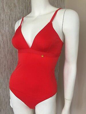 UK 8//10 ELLE MACPHERSON SOFT BREATHABLE FABRIC RED BODYSUIT SIZE S RETAIL £59
