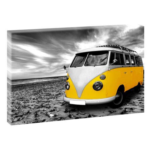 VW Bulli Bild auf Leinwand  Poster Wandbild Kunstdruck XXL 120 cm*80 cm 515 gelb
