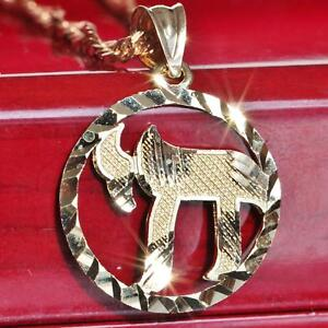 10k-yellow-gold-pendant-diamond-cut-Hebrew-Chai-life-charm-vintage-handmade-1-4g