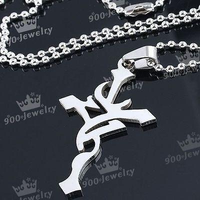 Edelstahl Silber Kette Kreuz Anhänger Halskette Herrenketten Unisex Punk Schmuck