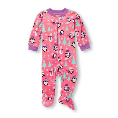 NWT The Childrens Place Unicorn Fair Isle Penguin Footed Fleece Sleeper Pajamas