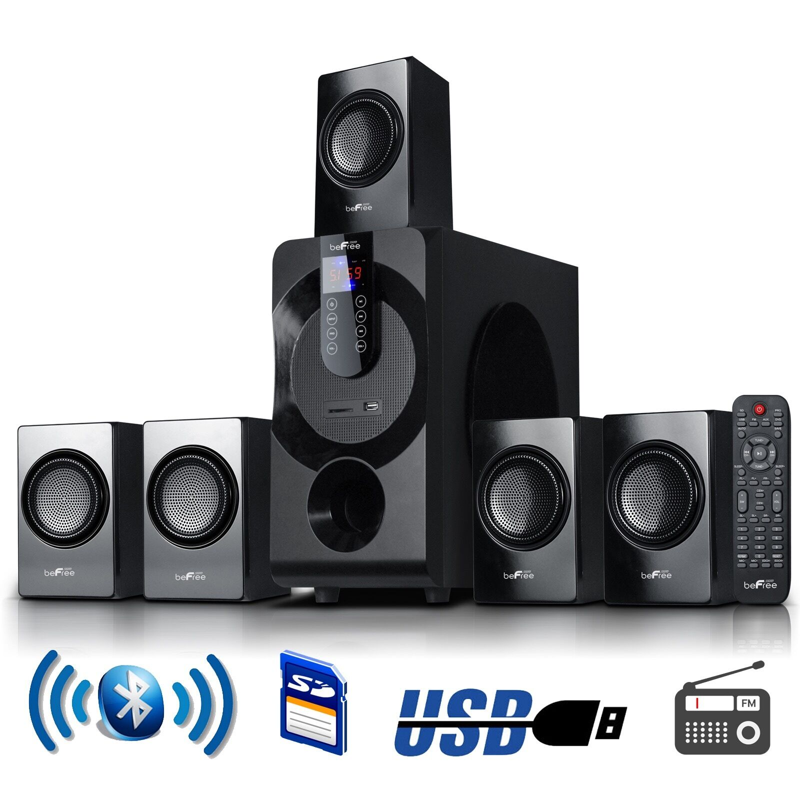 5.1 CHANNEL SURROUND SOUND BLUETOOTH HOME STEREO SPEAKER HOME THEATER SYSTEM USB