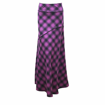 WOMEN CHECK PATTERN PURPLE BLACK LONG FULL LENGTH MAXI SKIRT UK 10 - 22 NEW