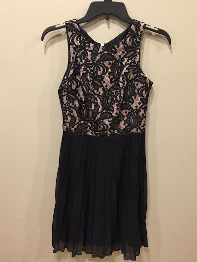 Black Dress Sleeveless With Pleated Skirt Prom Semi Formal Cocktail