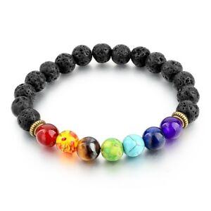 Bracelet-d-039-harmonisation-7-perles-7-chakras-avec-perles-de-lave-neuf