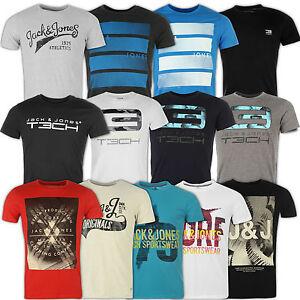 Jack-amp-Jones-Camiseta-Hombre-Cuello-Redondo-Gris-Rojo-azul-Negro-S-M-L-Xl-Xxl