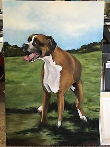 CUSTOM Memorial dog  Painting of your pet 24x36 Boxer Dogs Pet Portrait Canvas - Winnetka, California, United States - CUSTOM Memorial dog  Painting of your pet 24x36 Boxer Dogs Pet Portrait Canvas - Winnetka, California, United States
