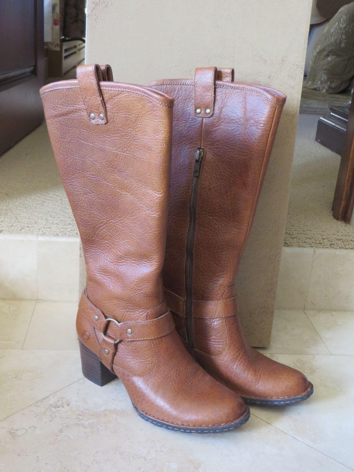 NIB BORN SUSANNE Natural Leather Harness Tall Boots Side Zip SZ 6M Euro 36.5